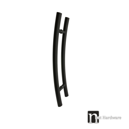 600mm matt black curved door pulls