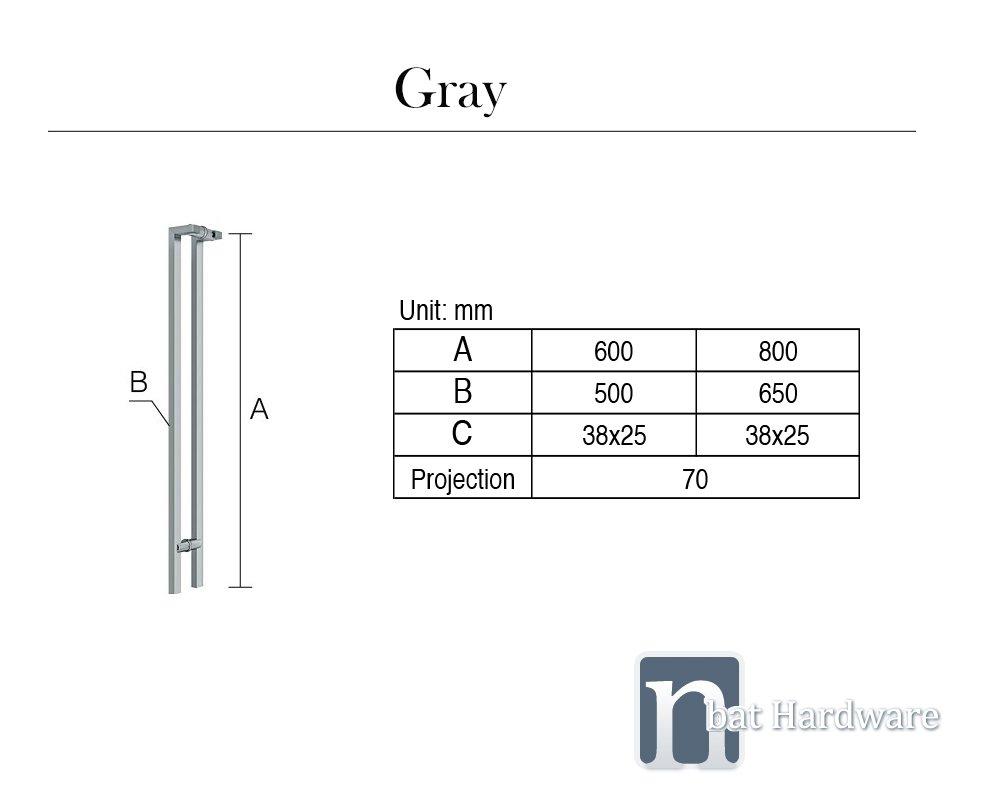 Gray Door Pull Handle