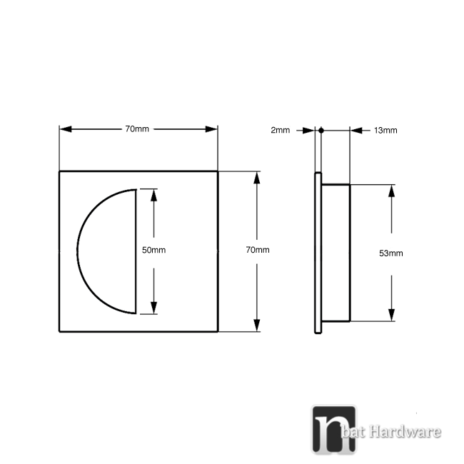 matt black square flush pull drawing