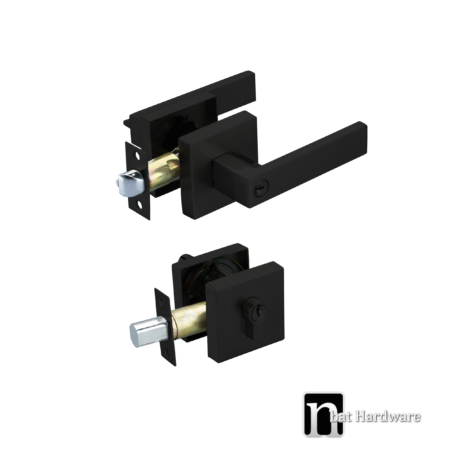 square entrance lock with a deadbolt