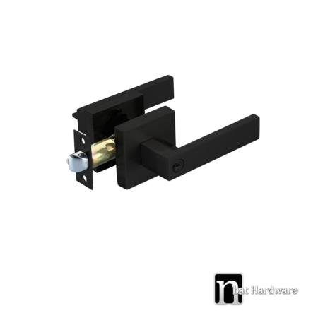 square matt black entrance lock set