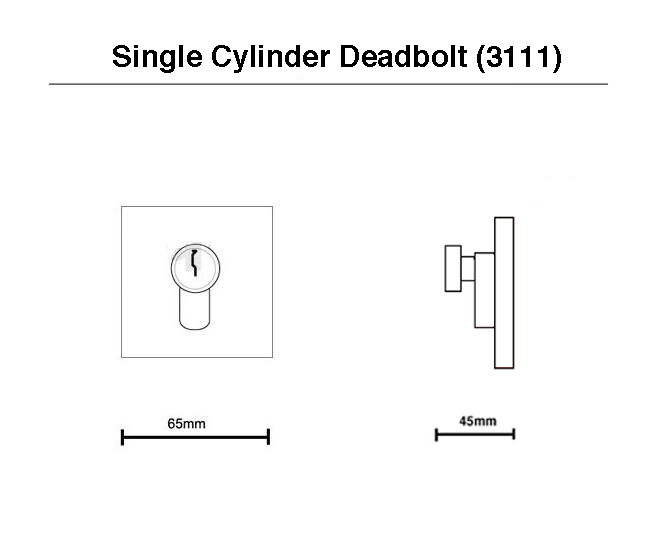 suqare single cylinder deadbolt drawing