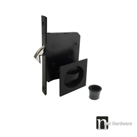 black square sliding door privacy set with pull