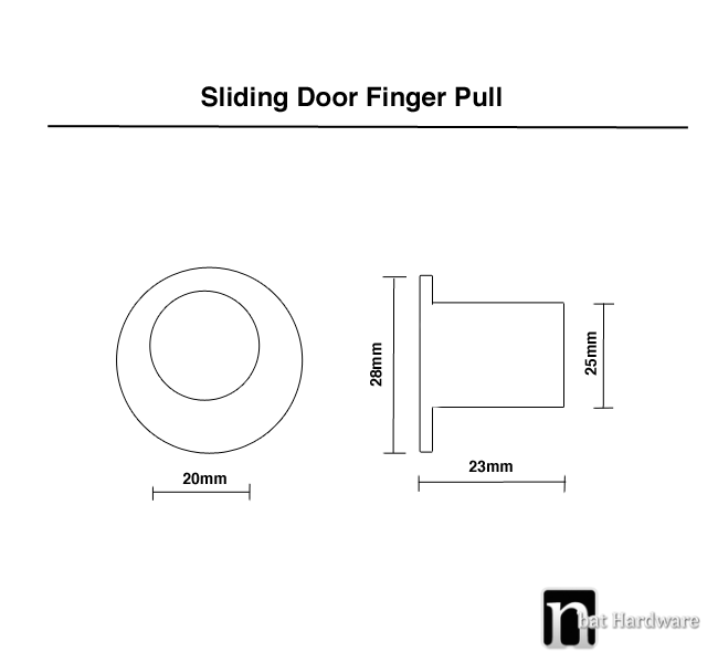 sliding door finger pull drawing