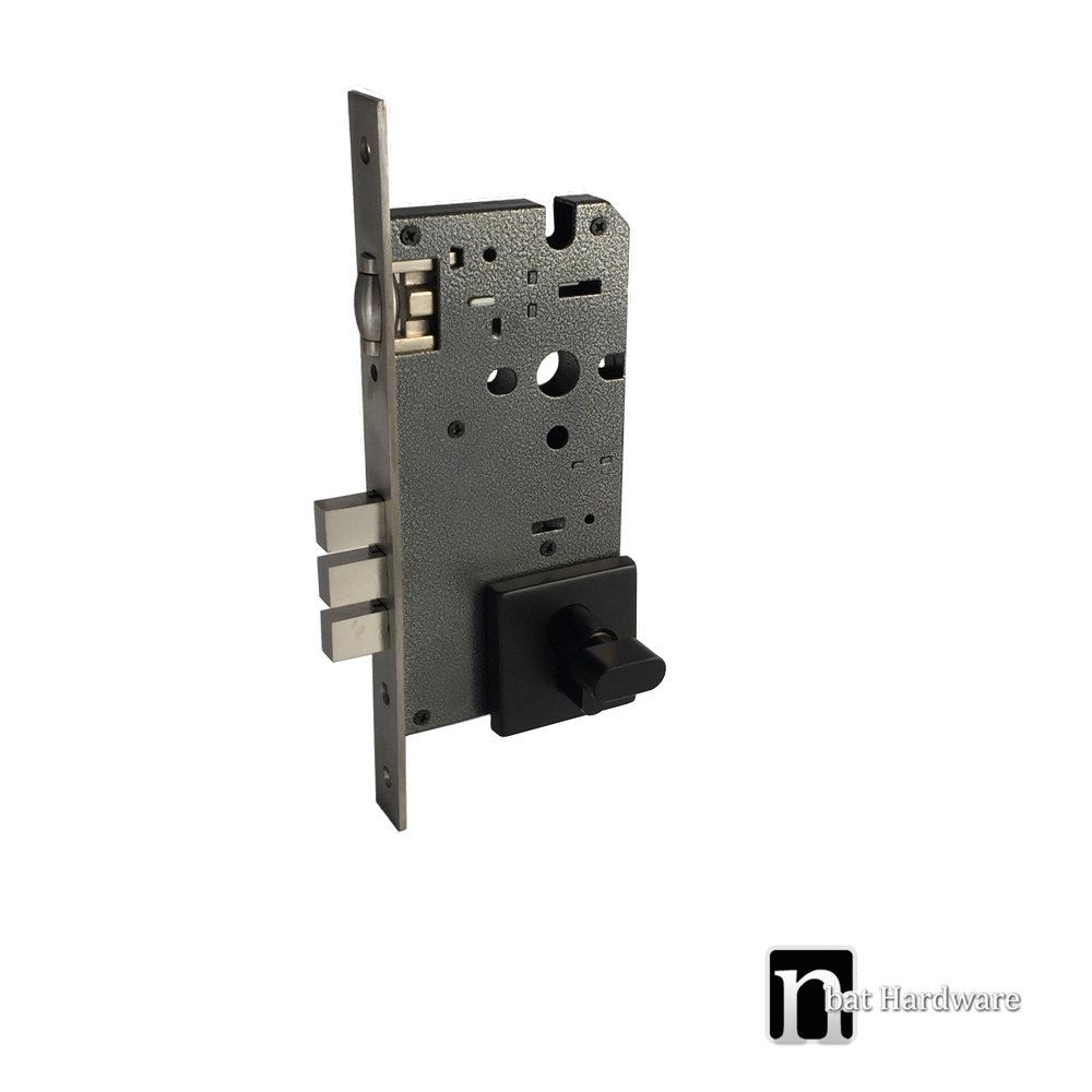 Black Mortice Lock With An Adjustable Roller Nbat Hardware