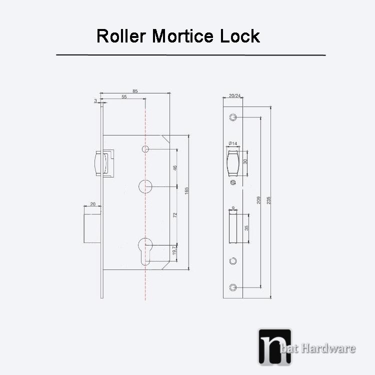 Round Plated Black Roller Mortice Lock Nbat Hardware