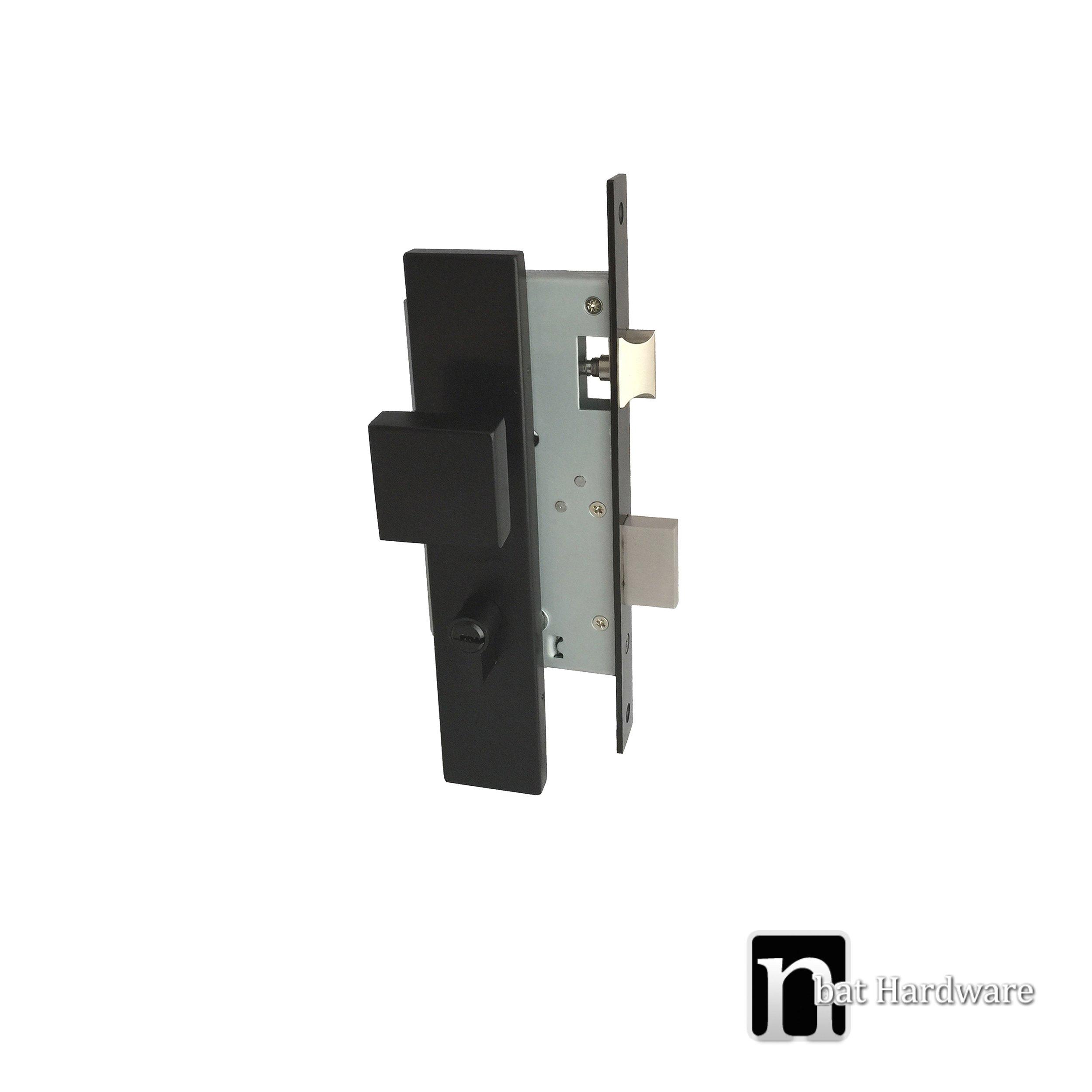 Black Entrance Mortice Lock With Square Knob Nbat Hardware