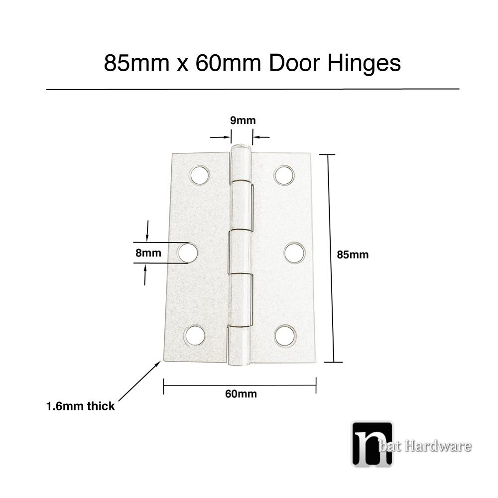 85 X 60 X 1 6mm Satin Nickel Finish Door Hinges Pair
