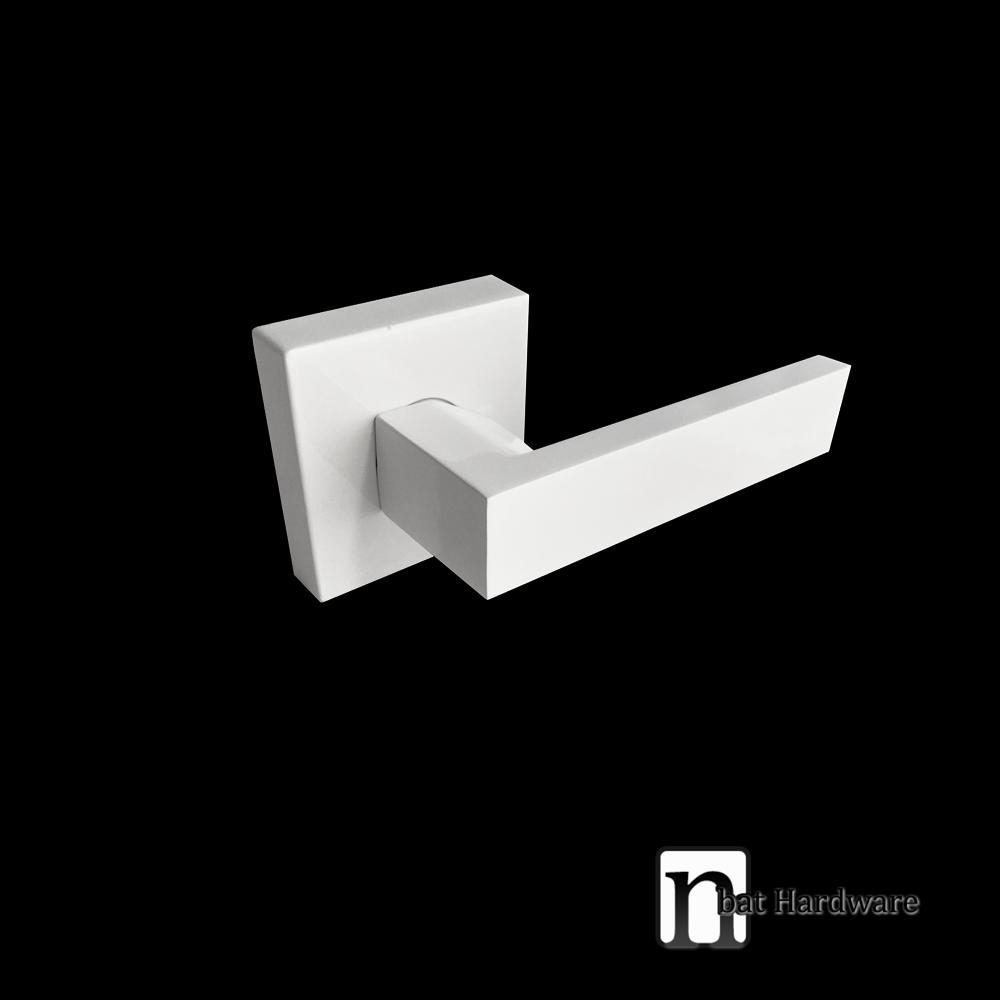 pure white finish square dummy door handle nbat hardware. Black Bedroom Furniture Sets. Home Design Ideas